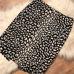 NWOT WHBM Gray & White Leopard Pencil Skirt Size 4